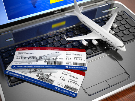 travel locations: Online ticket booking. Airplane and boarding pass on laptop keyboard. 3d