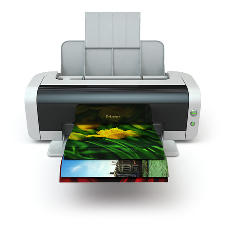 photocopier: Color printer prints photo on white isolated background. 3d