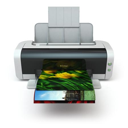 fotocopiadora: Impresora imprime en color de la foto en el fondo blanco aislado. 3d