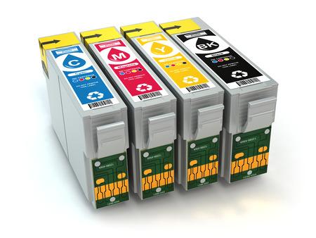 CMYK. Cartridges for colour inkjet printer. 3d photo