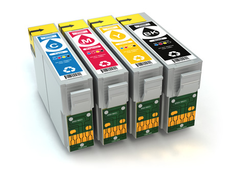 office printer: CMYK. Cartridges for colour inkjet printer. 3d Stock Photo