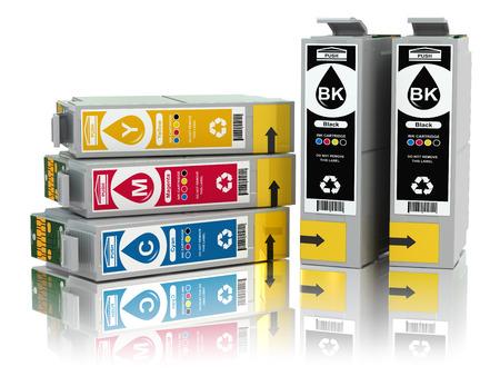 CMYK. Cartridges for colour inkjet printer. 3d Foto de archivo