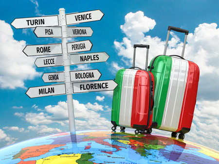 luggage airport: Travel concept. Suitcases and signpost what to visit in Italy. 3d
