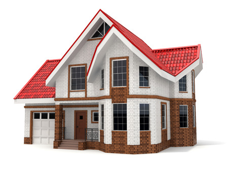 house facades: House on white background. Three-dimensional image. 3d