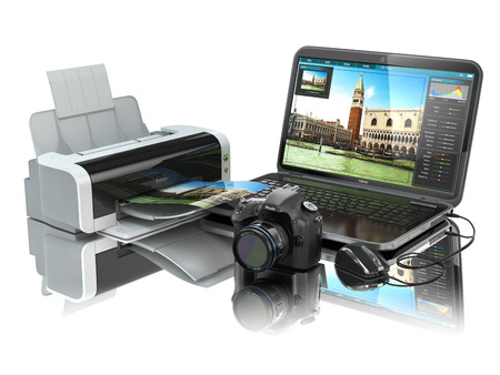 Laptop, photo camera and printer. Preparing images for print. 3d photo