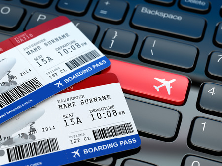 airplane ticket: Online ticket booking. Boarding pass on laptop keyboard. 3d