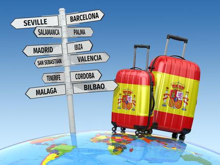 Reizen concept. Koffers en wegwijzer wat te bezoeken in Spanje. 3d Stockfoto
