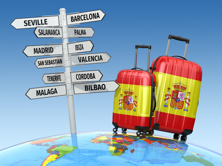 madrid spain: Travel concept. Suitcases and signpost what to visit in Spain. 3d