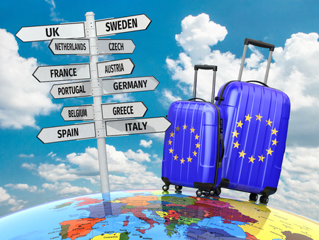 travel locations: Travel concept. Suitcases and signpost what to visit in Europe. 3d