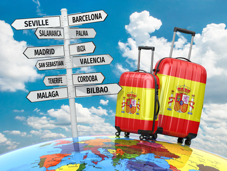 ibiza: Travel concept. Suitcases and signpost what to visit in Spain. 3d