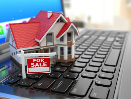 bienes raices: Agencia inmobiliaria en l�nea. Casa en el teclado port�til. 3d
