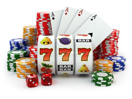 Casino. Máquina tragaperras con jackpot, dados, cartas y fichas. 3d Foto de archivo
