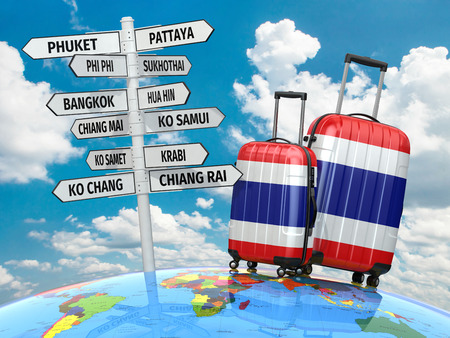samui: Travel concept. Suitcases and signpost what to visit in Thailand. 3d Stock Photo