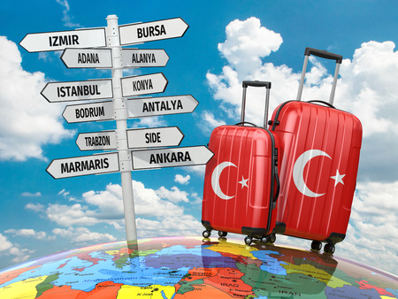 bursa: Travel concept. Suitcases and signpost what to visit in Turkey. 3d Stock Photo