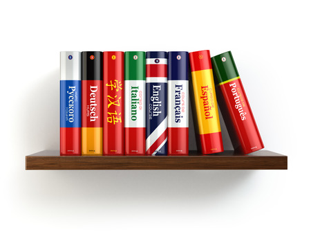 Dictionaries on bookshelf white isolated backgound. 3d photo