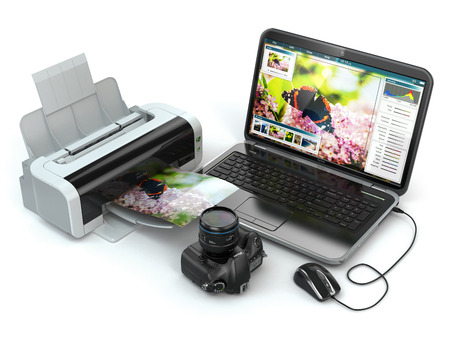 Laptop, photo camera and printer. Preparing images for print. 3d