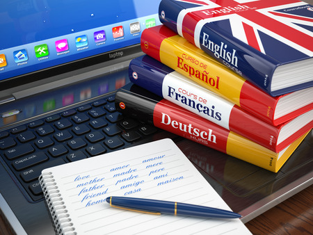 data dictionary: E-learning. Learning languages online. Dictionaries  on laptop. 3d Stock Photo