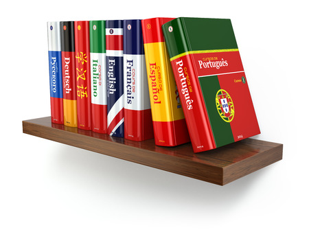 language dictionary: Dictionaries on bookshelf white isolated backgound. 3d Stock Photo