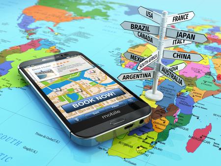 Viajes y concepto de turismo. Reserva hotel por teléfono inteligente y el letrero de destino. 3d