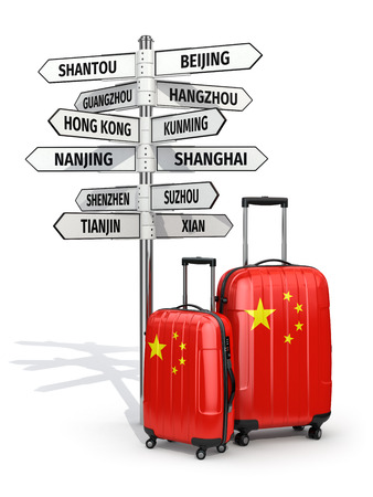 hong kong street: Travel concept. Suitcases and signpost what to visit in China. 3d