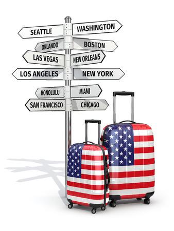 旅行の概念。スーツケースと道標何が米国で訪問します。3 d 写真素材