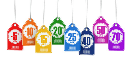 Sale tags labels discount on white isolated background. 3d Stock Photo