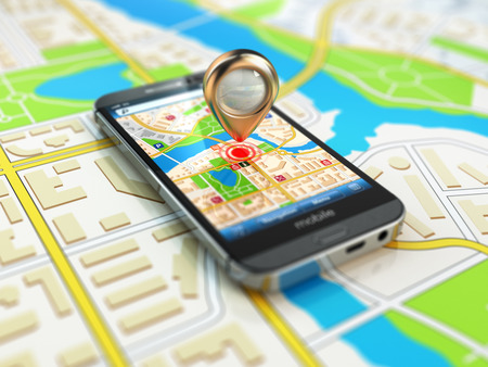 gps: Mobile GPS navigation concept. Smartphone on map of the city, 3d