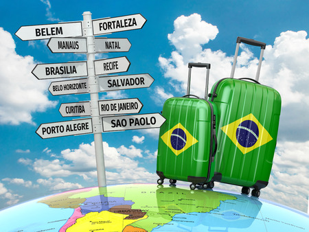 brazil symbol: Travel concept. Suitcases and signpost what to visit in Brazil.  3d