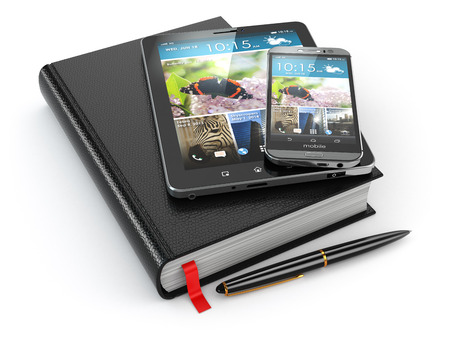 Notebook, tablet pc and mobile phone. 3d photo