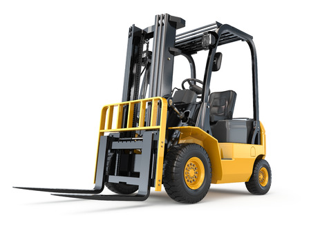 Forklift truck on white isolated background. 3d Foto de archivo