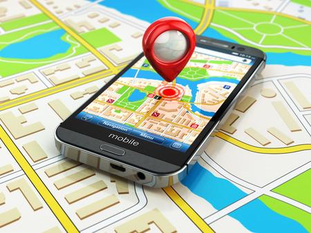 Mobile concepto de navegación GPS. Smartphone en el mapa de la ciudad, 3d Foto de archivo - 32387703