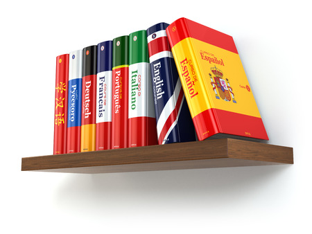 linguistics: Dictionaries on bookshelf white isolated backgound. 3d Stock Photo