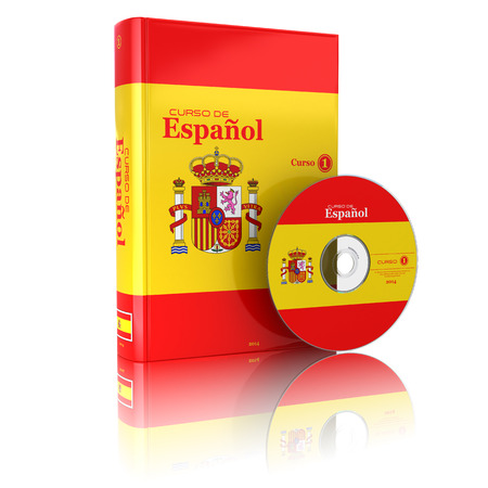 spanish flag: Spanish book  in national flag cover and CD. 3d
