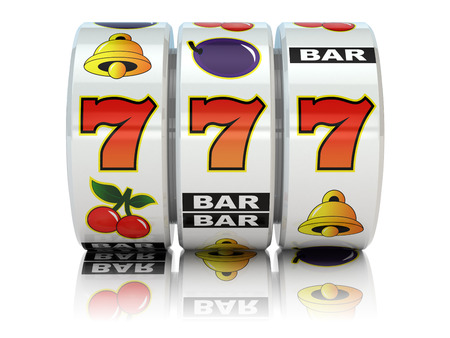 Casino. Slot machine with jackpot on white isolated background. 3d