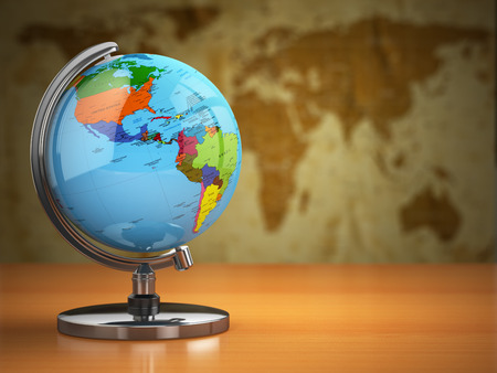 business symbols and metaphors: Globe  with a political map on vintage background. 3d Stock Photo
