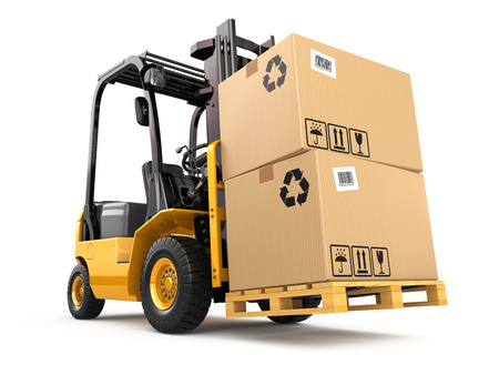 fragile industry: Forklift truck with boxes on pallet. Cargo. 3d Stock Photo