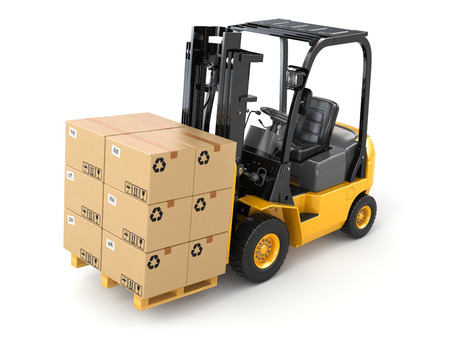 Forklift truck with boxes on pallet. Cargo. 3d photo
