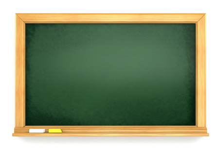 chipboard: Blackboard or chalkboard on white isolated background. 3d Stock Photo