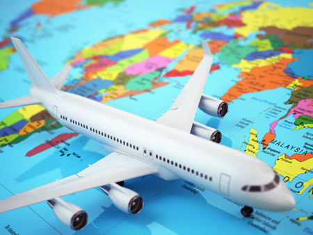 air cargo: Airplane on world map. Three-dimensional image 3d Stock Photo