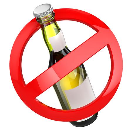 Žádný alkohol znamení. Láhev piva na bílém pozadí. 3d