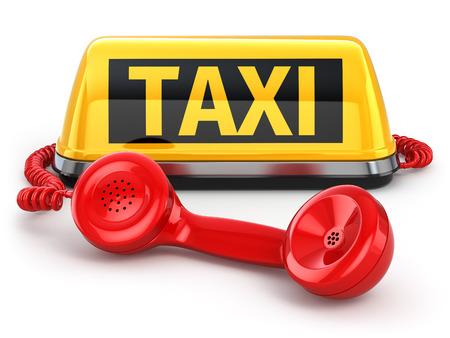 タクシーの車の記号と孤立した白地に電話。3 d