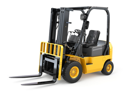 Forklift truck on white isolated background. 3d Stock Photo