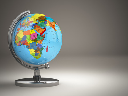 political map: Globe with political map on grey background. 3d