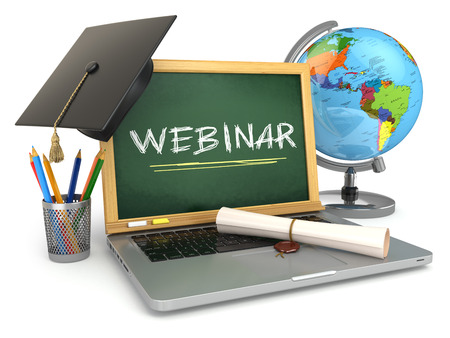 Webinar: Webinar education concept. Laptop with blackboard, mortar board and diploma. 3d Stock Photo