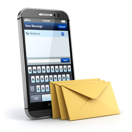 mobile sms: Mobile phone with short message service. Sms on the screen. 3d