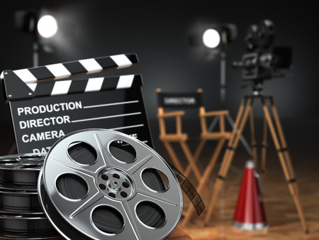movie camera: Video, movie, cinema concept. Retro camera, reels, clapperboard and director chair. 3d