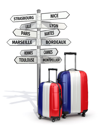 hong kong street: Travel concept. Suitcases and signpost what to visit in France. 3d Stock Photo