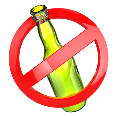 banned: Stop alcohol or No glass sign.  Bottle on white isolated background. 3d