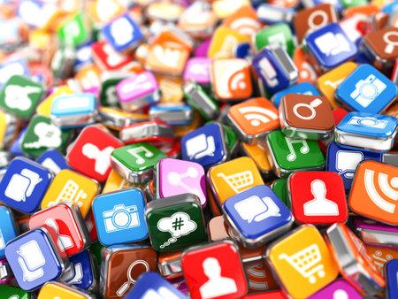 interaccion social: Software. Smartphone o teléfono móvil iconos de aplicación de fondo. 3d