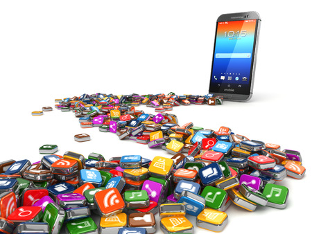 mobile icon: Software. Smartphone or mobile phone app icons background. 3d